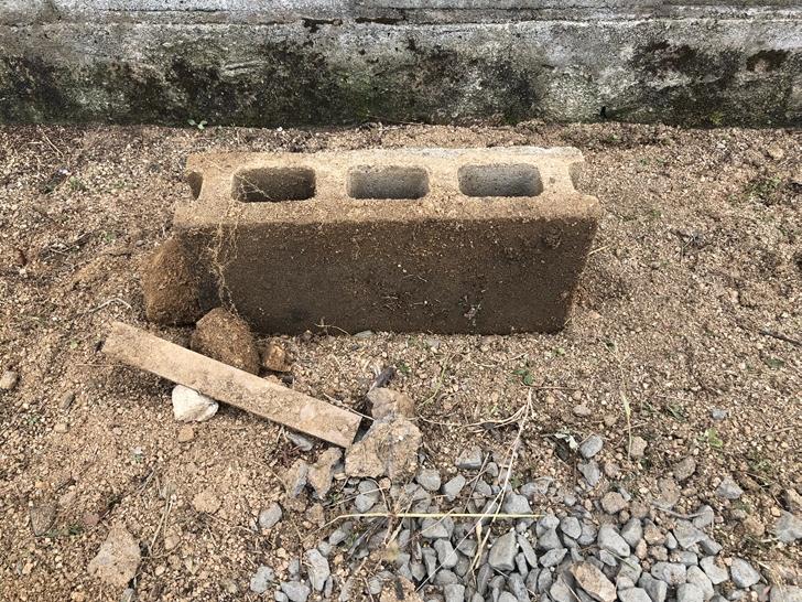 土の中からブロック塀